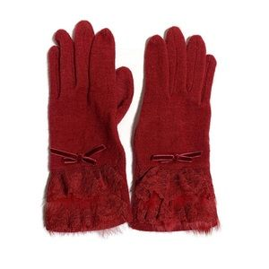 Knitted lace trim elegant gloves